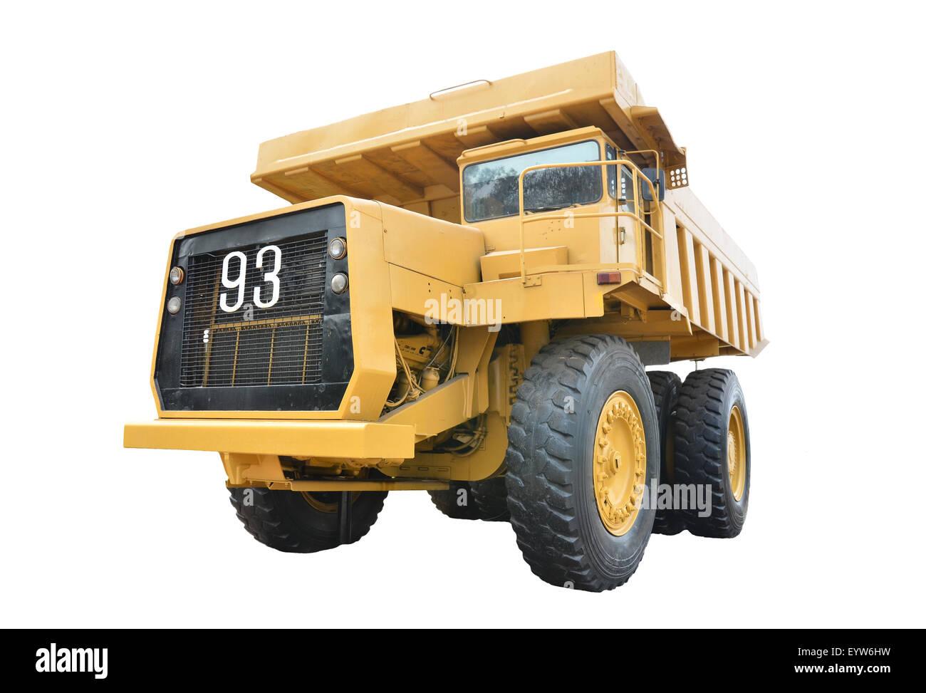 old mining truck isolated on white background - Stock Image