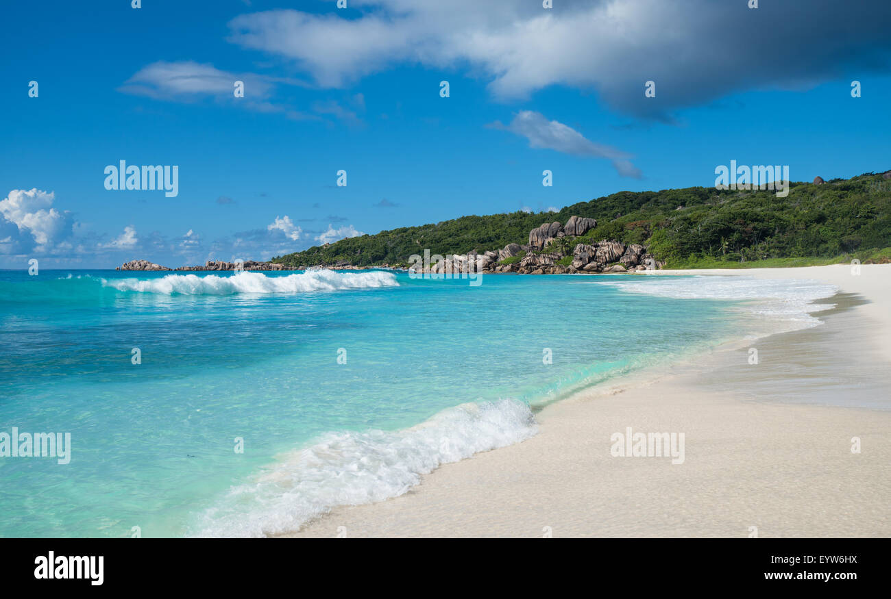 Grand Anse tropical beach, La Digue island, Seychelles - Stock Image