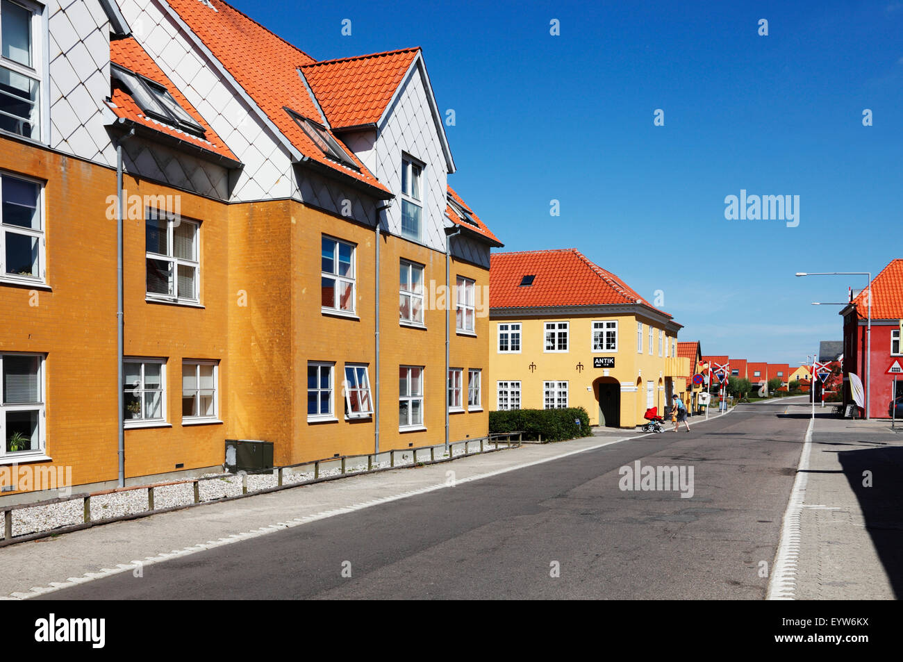 Nørregade, the main street of Hundested, North Sealand, Denmark, on at sunny summer morning with a blue sky - Stock Image