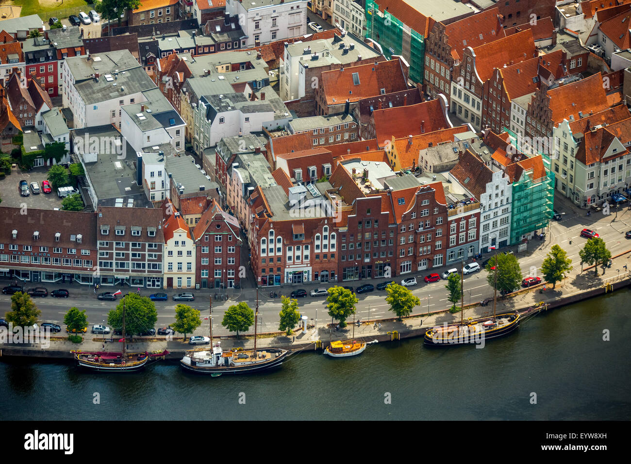 Town houses by the Trave, Bay of Lübeck, Lübeck, Schleswig-Holstein, Germany - Stock Image