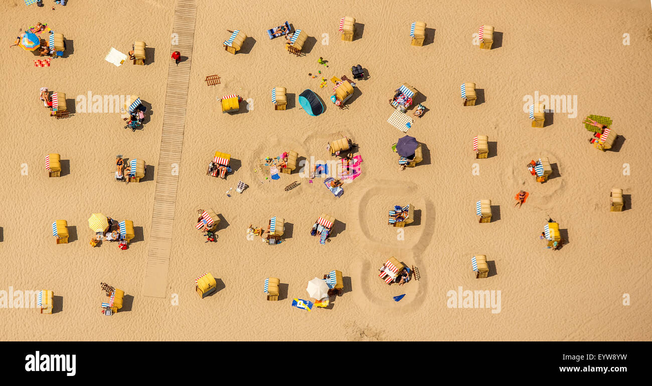 Beach chairs, sand beach, Baltic Sea, Brodtener coast in front of the A-ROSA hotel, Travemünde, Lübeck, - Stock Image