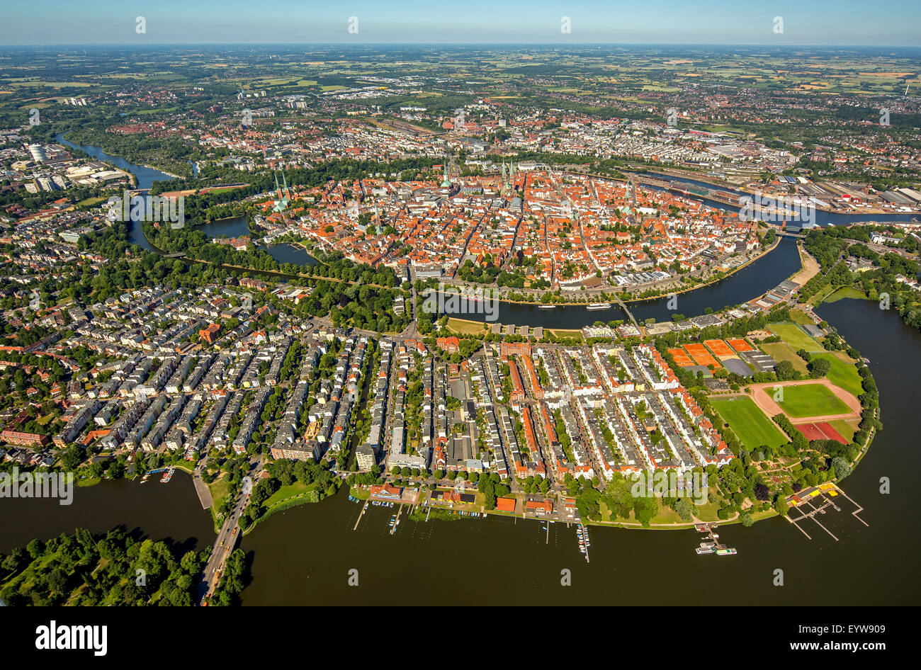 Historic centre of Lübeck with Trave and Obertrave, Bay of Lübeck, Lübeck, Schleswig-Holstein, Germany - Stock Image