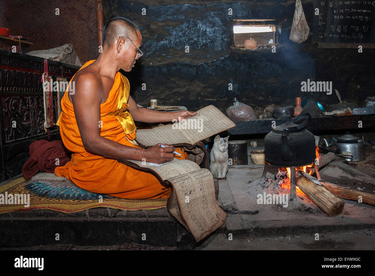 Buddhist monk, abbot, reading scripts, Wan Nyet Buddhist monastery, near Kyaing Tong, Golden Triangle, Myanmar - Stock Image