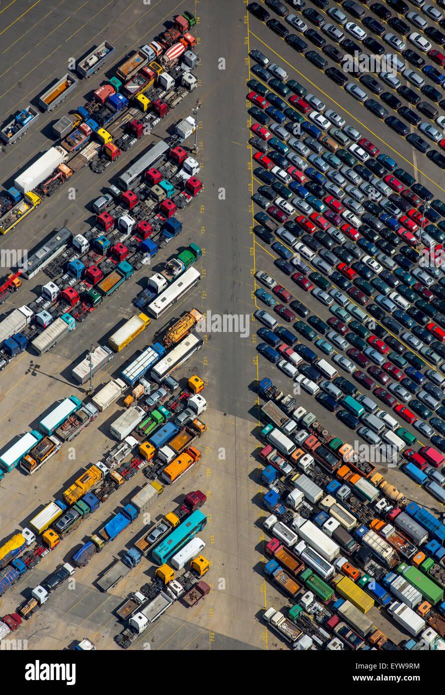 Loading used cars, Hansahafen, Unikai, Port of Hamburg, Elbe, Hamburg, Germany - Stock Image