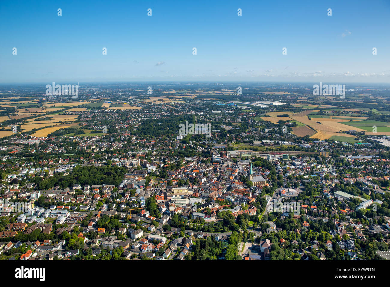 View from the south to the city center of Unna, Ruhr district, North Rhine-Westphalia, Germany - Stock Image