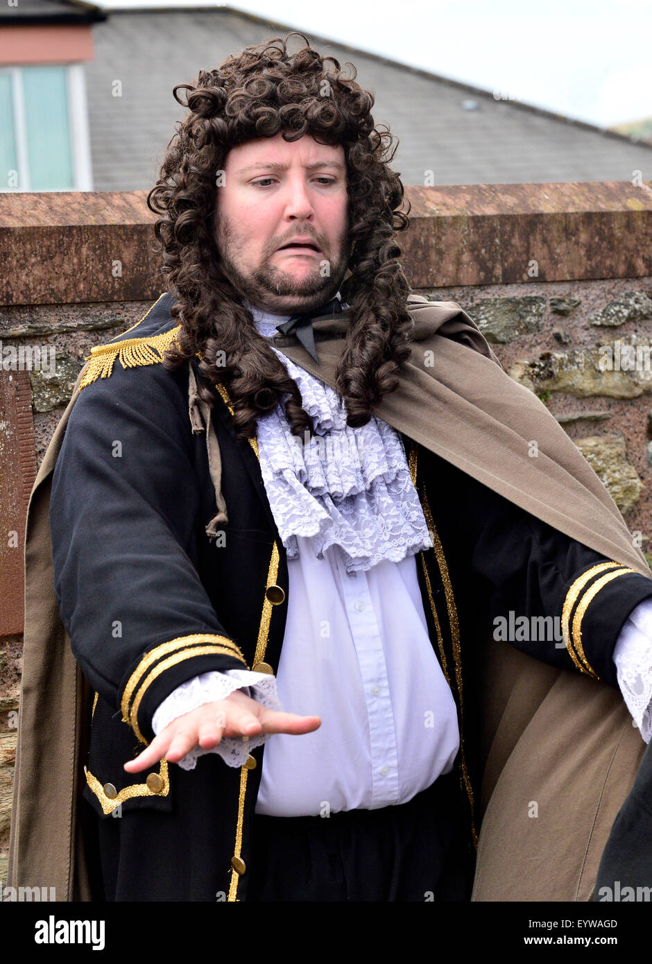 Actor plays the traitor Lt Col Robert Lundy in a re-enactment of scene from the Siege of Derry (1688-1689) on Derry - Stock Image
