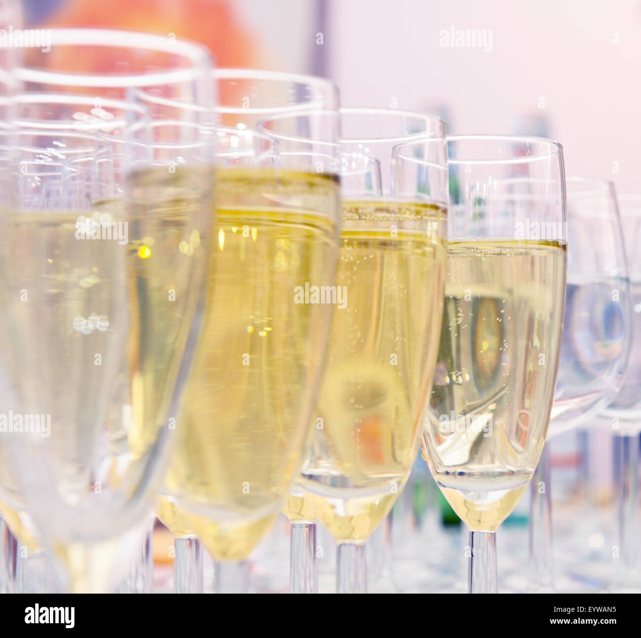 clean glasses of champagne on the table - Stock Image