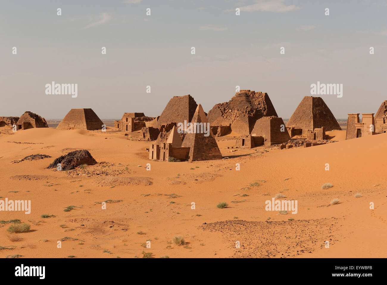 Necropolis of the rulers of the ancient kingdom of Kush, pyramids of the north cemetery of Meroe, Nubian Desert, - Stock Image