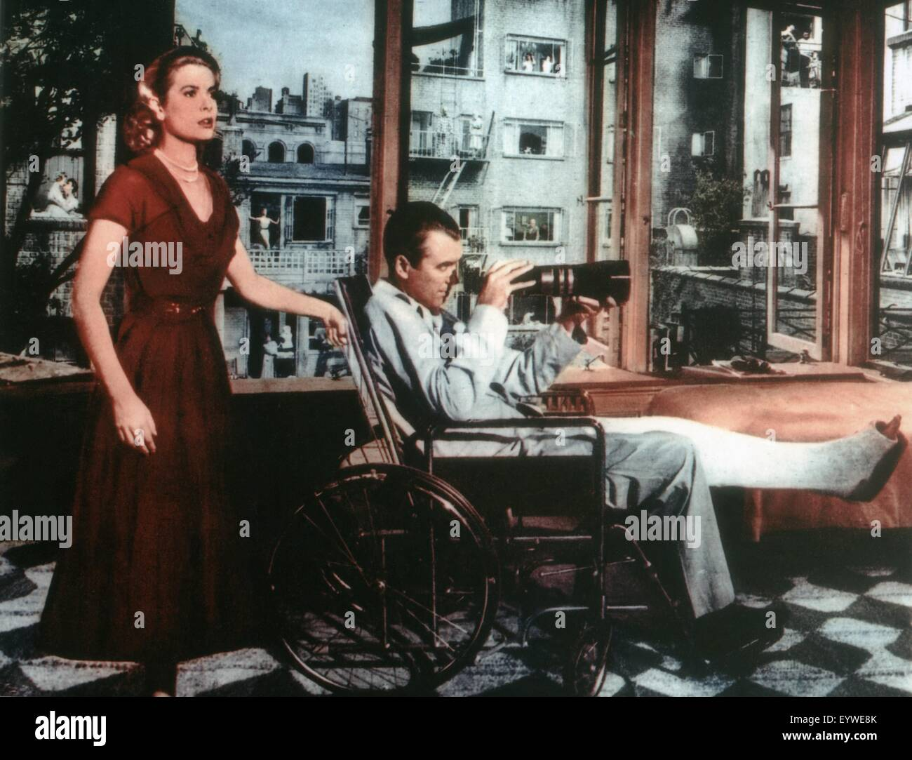 Rear Window ; Year: 1954 - USA ; Director: Alfred Hitchcock ; Grace Kelly, James Stewart - Stock Image