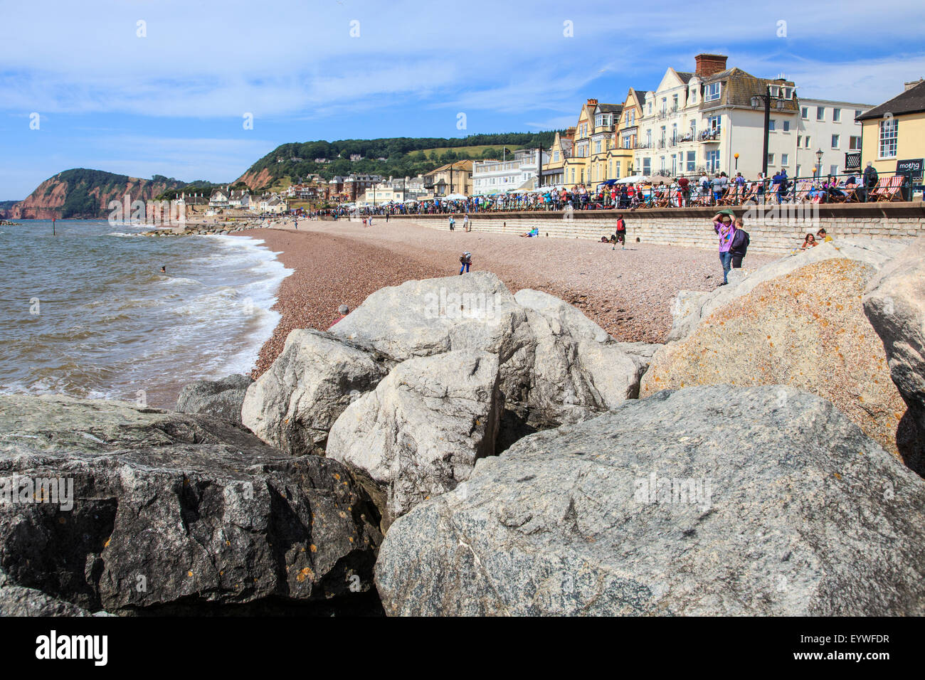 Sea shore and front at Sidmouth - Stock Image