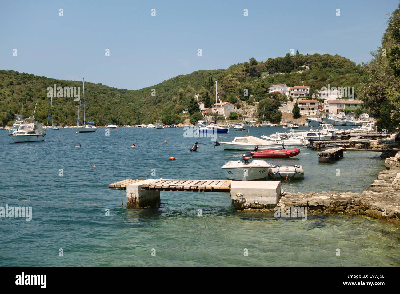 Istria, Croatia. Krnica Porat, a small quiet harbour on the east coast of the Istrian peninsula, about 20km from Stock Photo