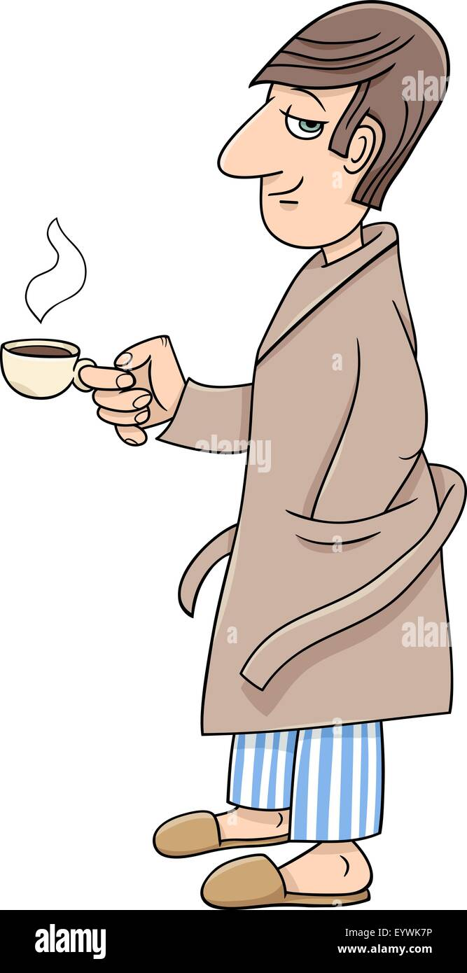 Cartoon Illustration Of Man In Bathrobe With Cup Coffee