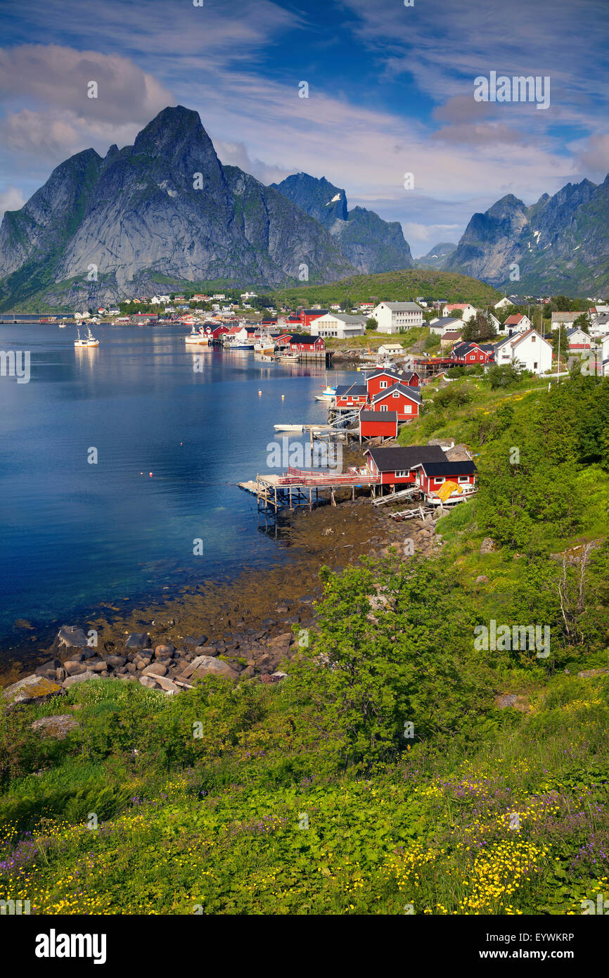 Reine. Scenic town of Reine on Lofoten islands in Norway on sunny summer day. - Stock Image