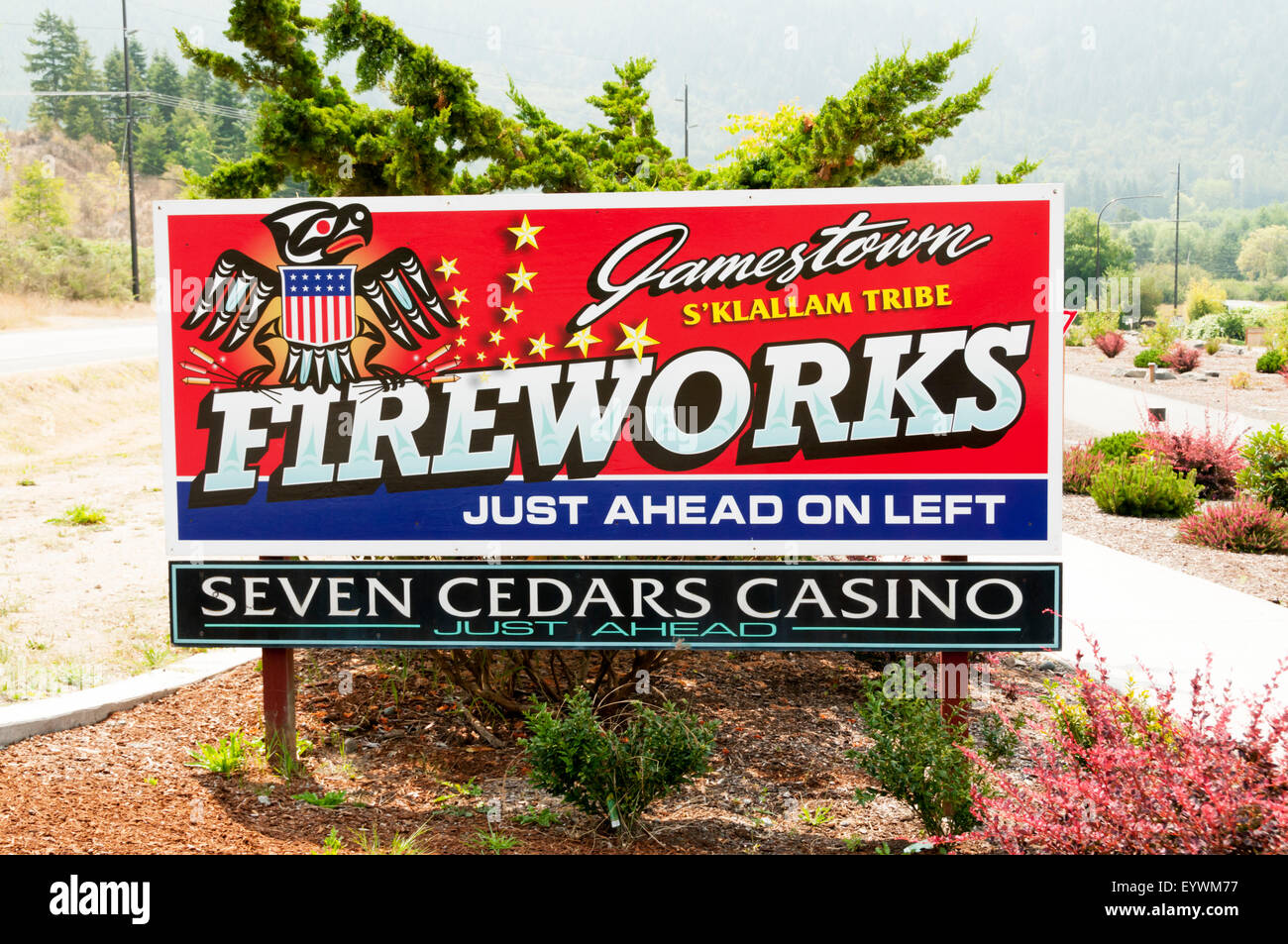 Sign for fireworks and the Seven Cedars Casino run by the S'Klallam tribe on reservation land in Jamestown, - Stock Image