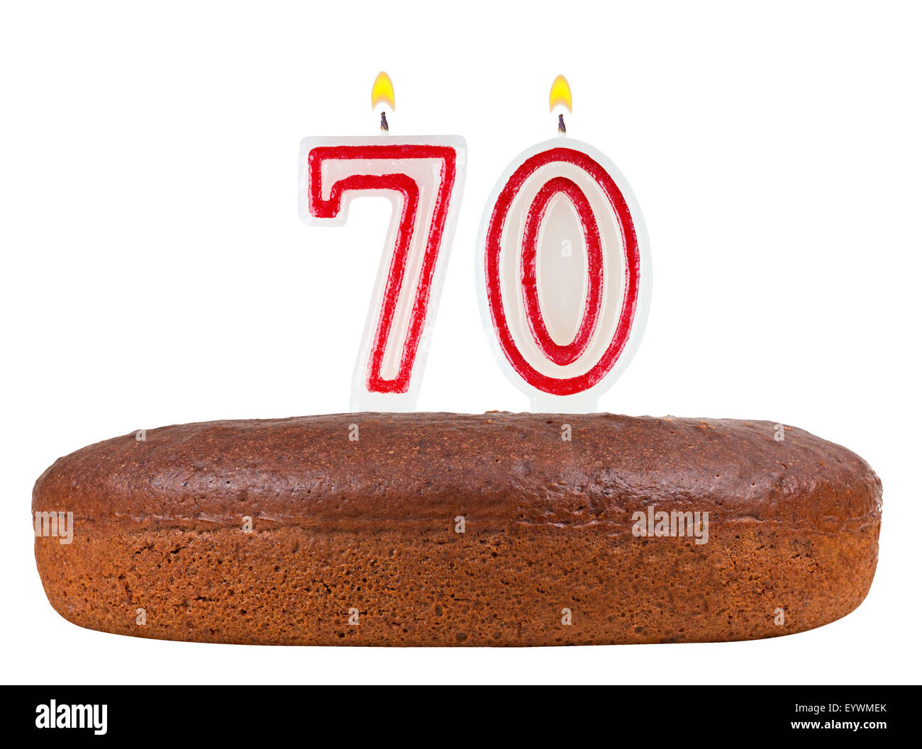 Birthday Cake With Candles Number 70 Isolated On White Background