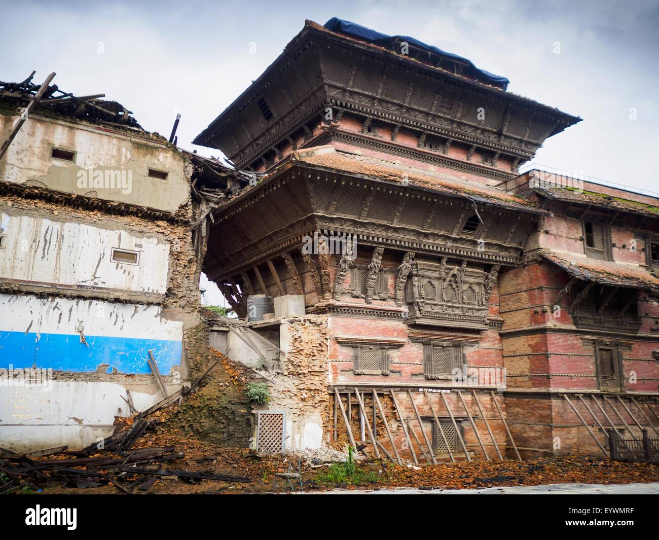 July 30, 2015 - Kathmandu, Nepal - Damage in Durbar Square in Kathmandu three months after the earthquake. The Nepal - Stock Image