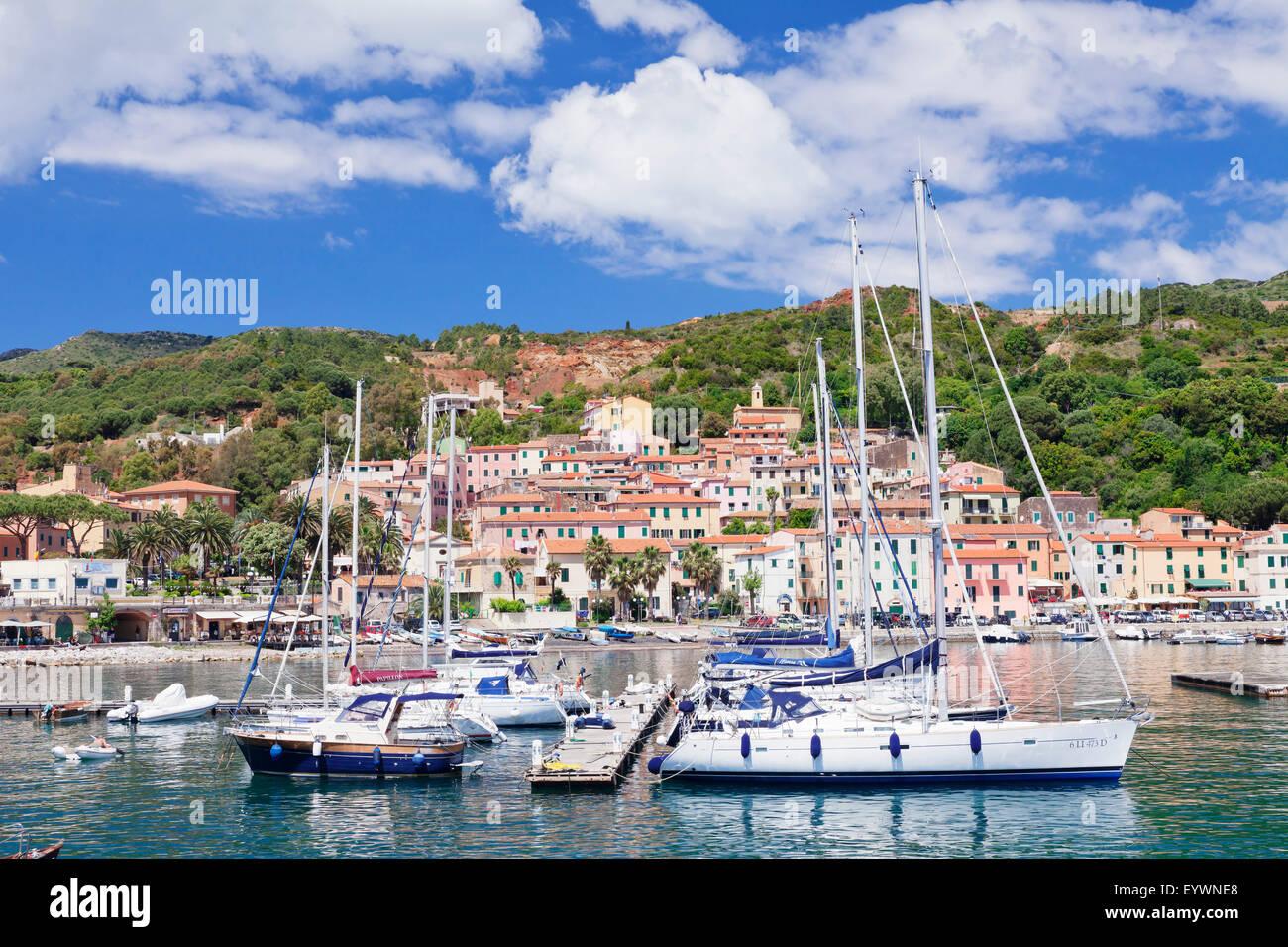Harbour, Rio Marina, Island of Elba, Livorno Province, Tuscany, Italy, Mediterranean, Europe - Stock Image