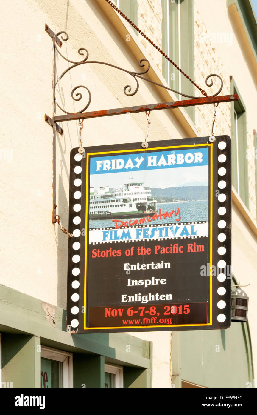 A sign for the Friday Harbor Documentary Film Festival in the San Juan Islands, Washington. - Stock Image