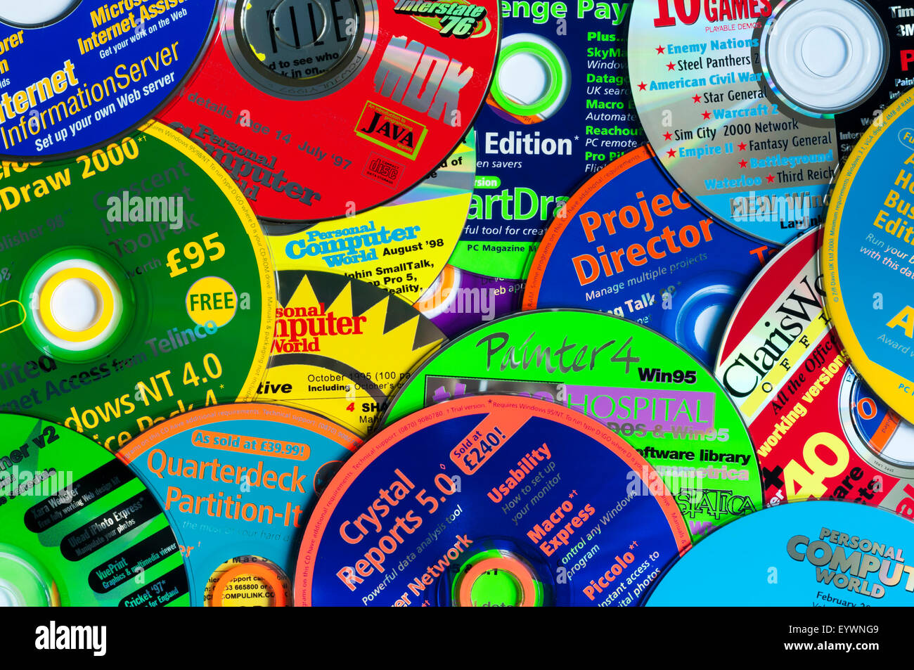 Computer programs given free with computing magazines in the 1990s. - Stock Image