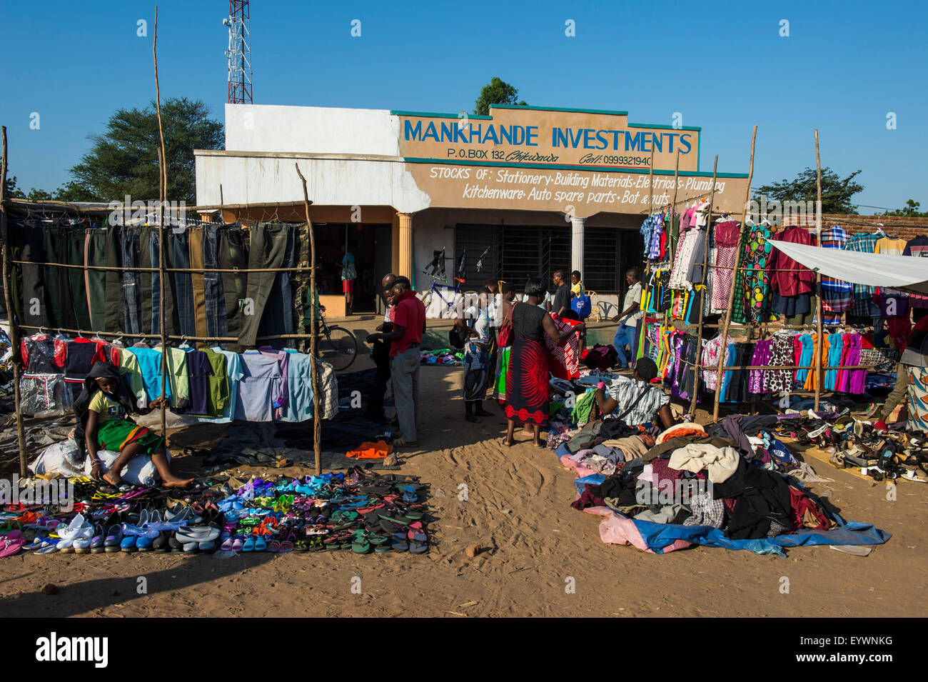 Street market in central, Malawi, Africa - Stock Image