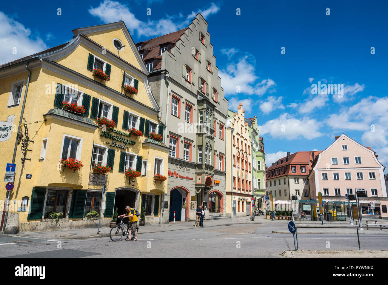 Old trader houses on Arnulfsplatz, a square in Regensburg, UNESCO World Heritage Site, Bavaria, Germany, Europe - Stock Image