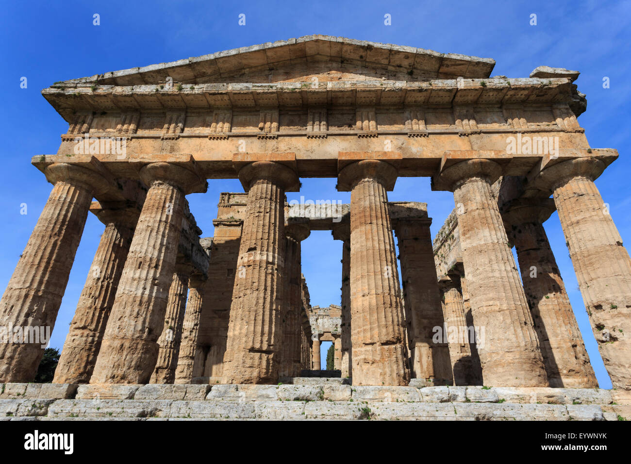 Temple of Neptune, 450 BC, largest and best preserved Greek temple at Paestum, UNESCO World Heritage Site, Campania, - Stock Image