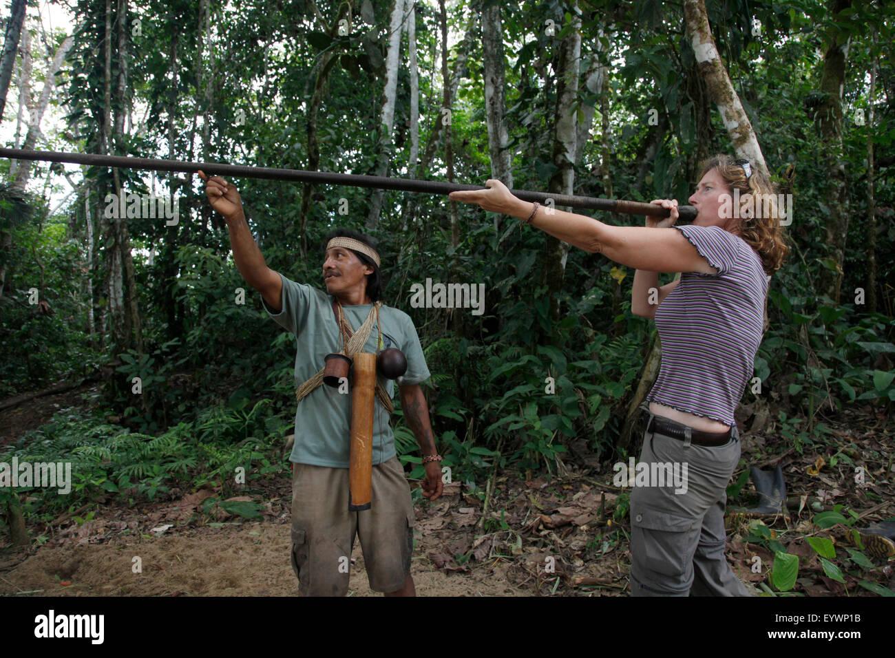 Ecotourism with native Huaorani nation at Yasuni National Park, Amazon, Ecuador, South America - Stock Image