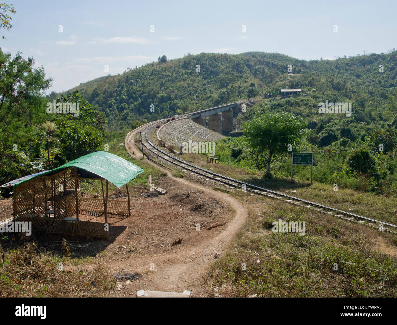 Section of the infamous Death Railway built by POWs during WWII in Shan State, Myanmar (Burma), Asia - Stock Image