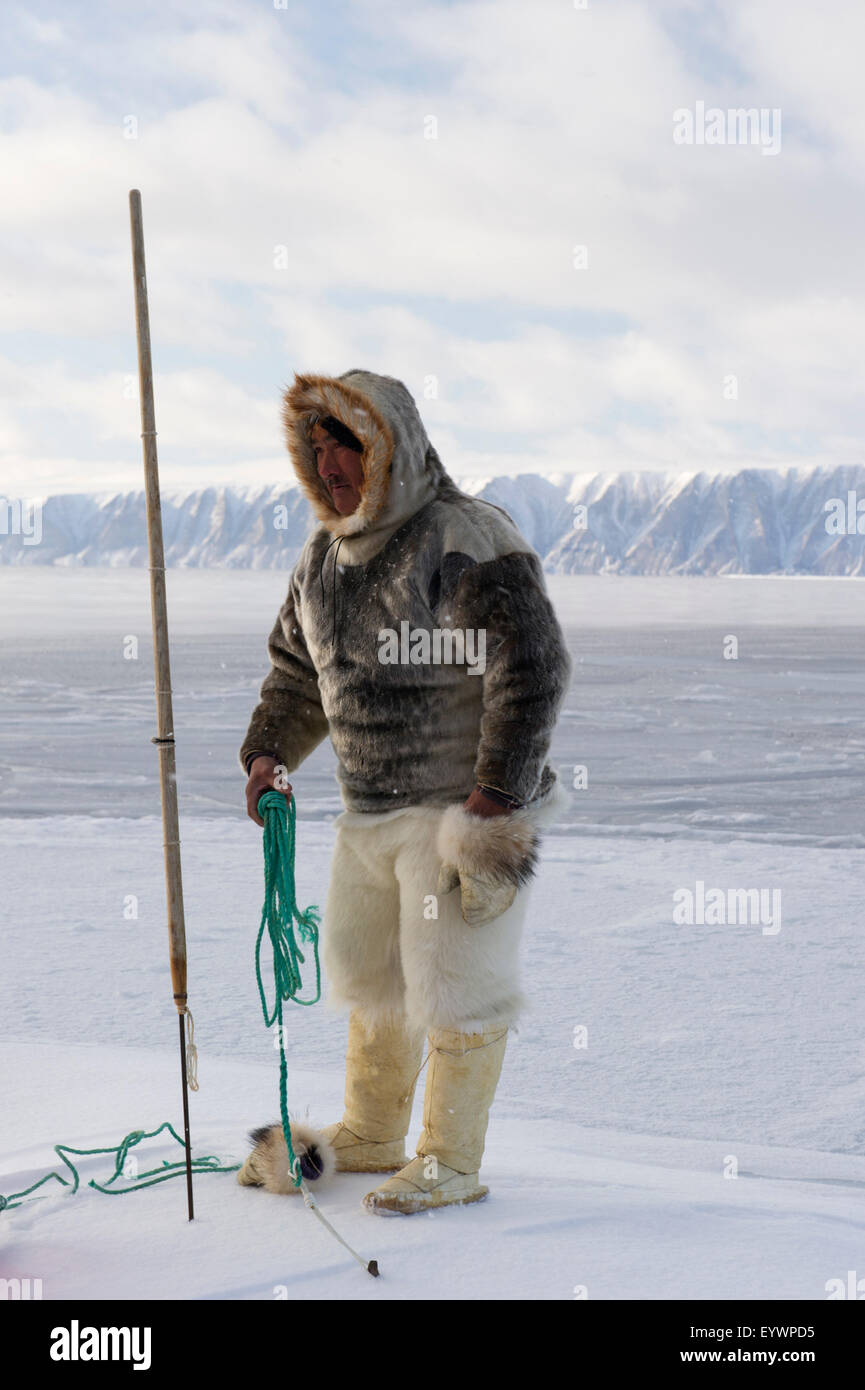 Inuit/Inughuit subsistence hunter in traditional clothing for winter and spring of seal skin boots (Kamiks), Greenland, - Stock Image