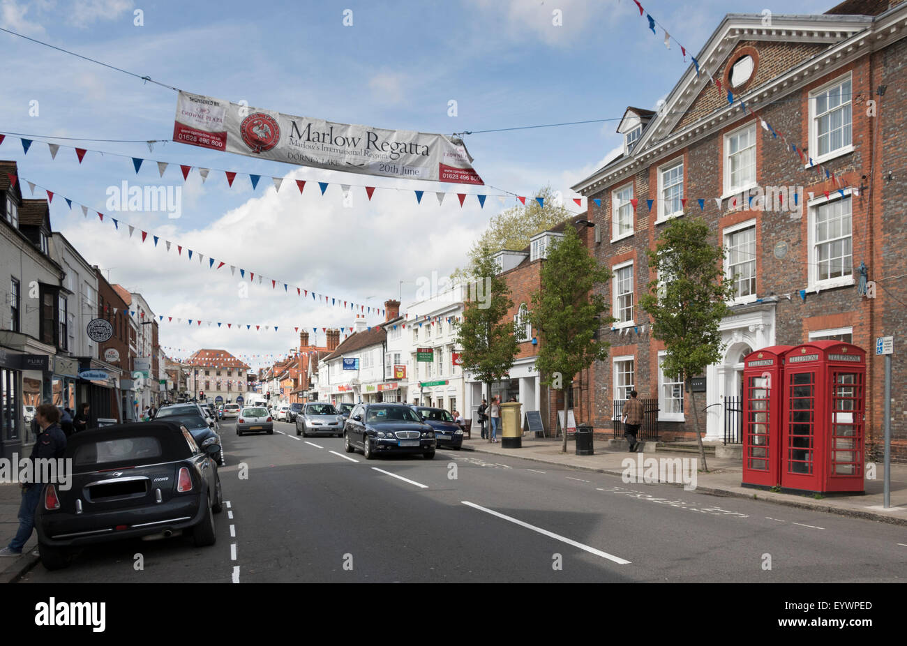 Old Post Office Building and High Street, Marlow, Buckinghamshire, England, United Kingdom, Europe Stock Photo