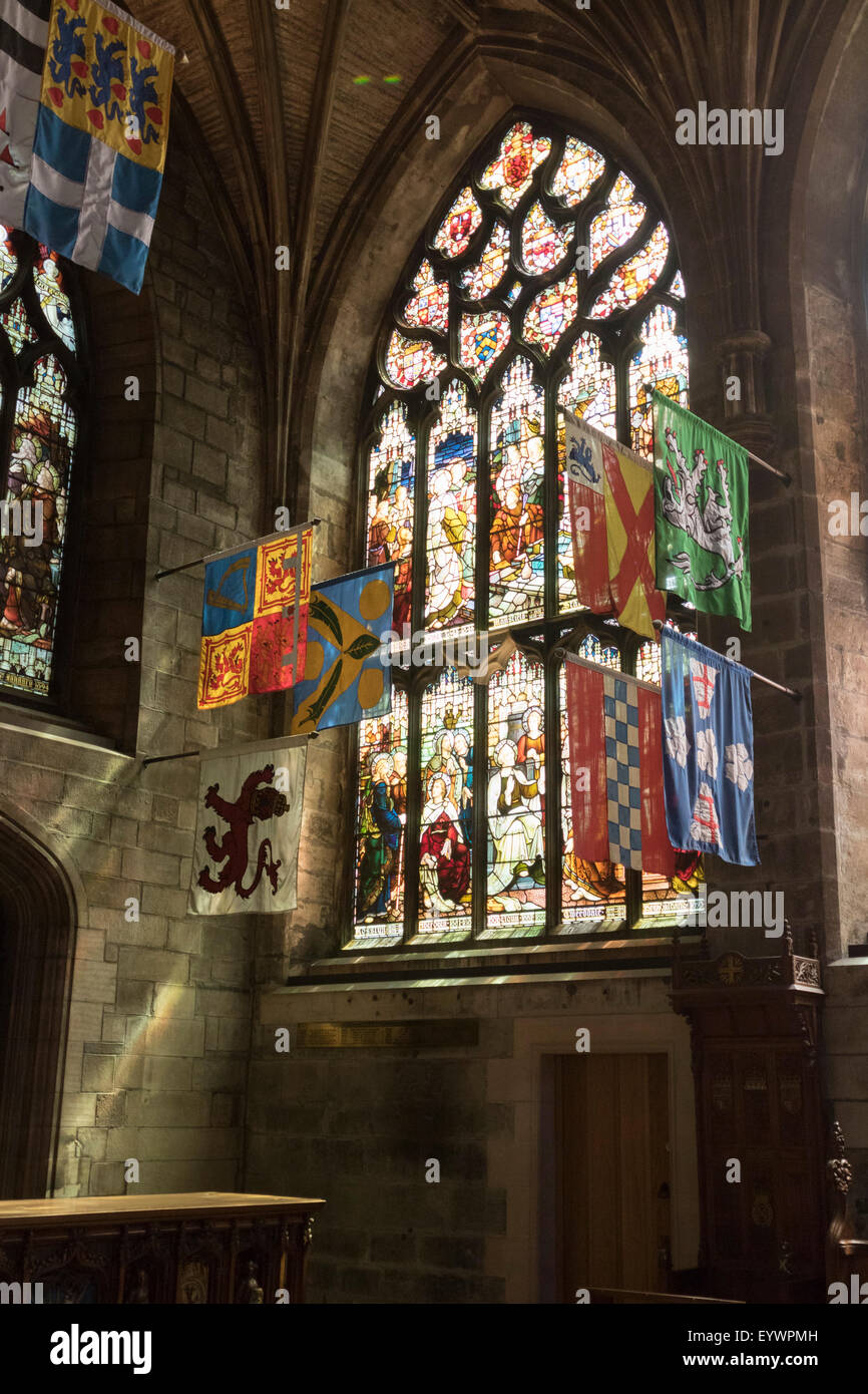 Banners of the Knights of the Order of the Thistle, St. Giles' Cathedral, Edinburgh, Scotland, United Kingdom, - Stock Image