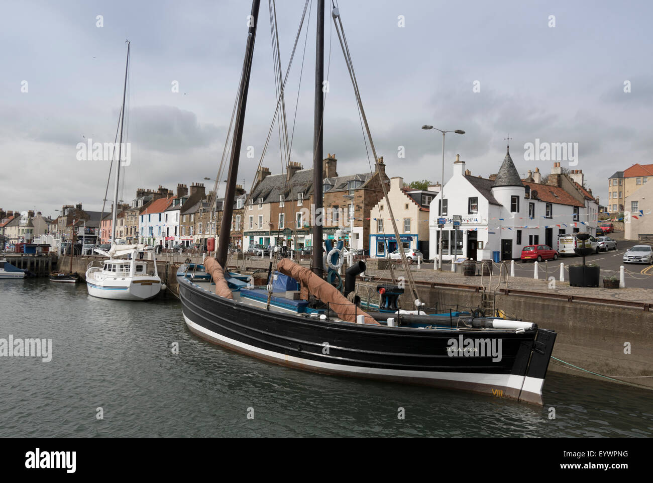 Sailing Herring Drifter moored in harbour, Anstruther, Fife Coast, Scotland, United Kingdom, Europe - Stock Image