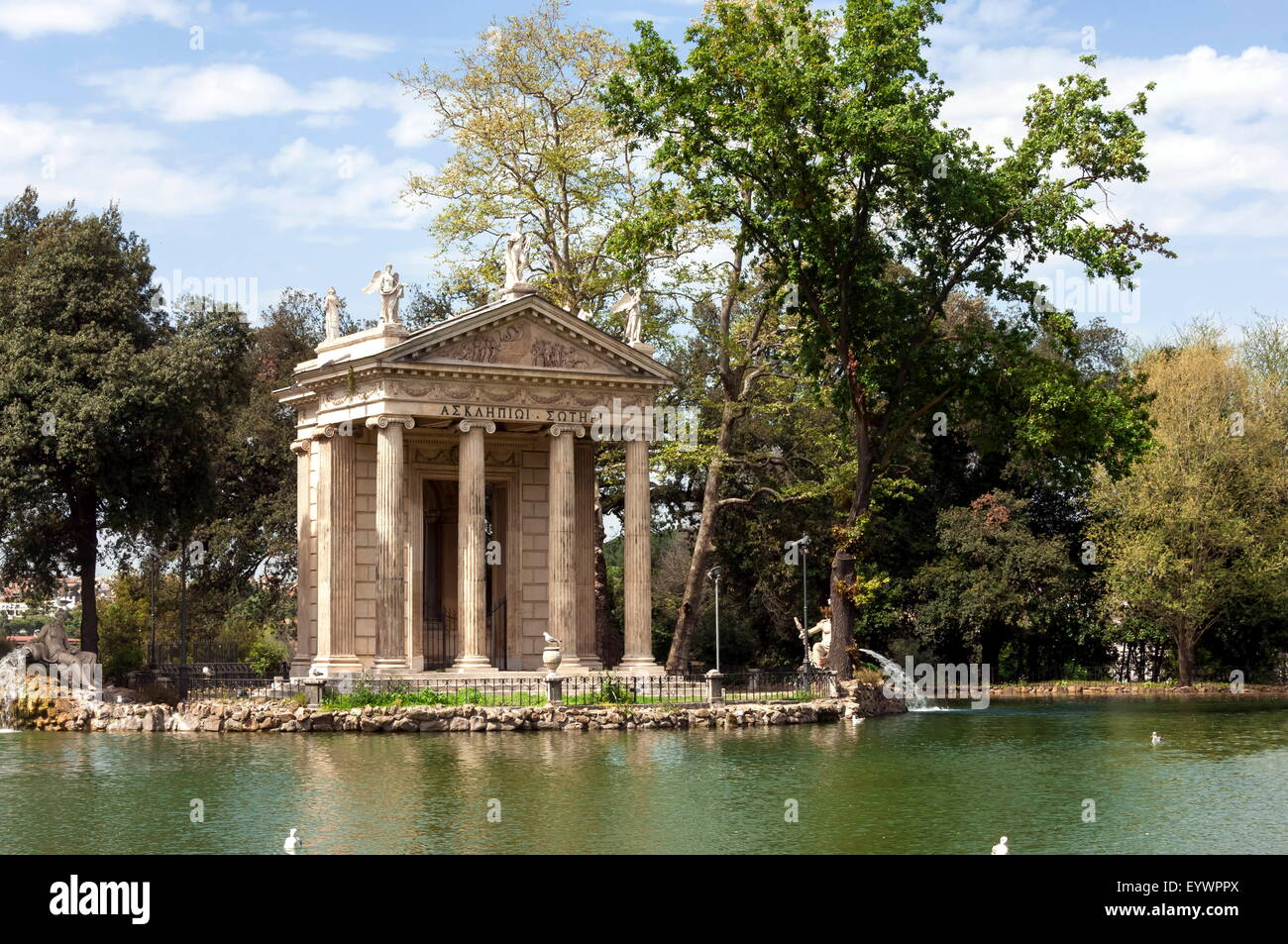 Ionic Temple of Aesculapius, God of Healing, by an artificial lake in the Borghese Park, Rome, Lazio, Italy - Stock Image