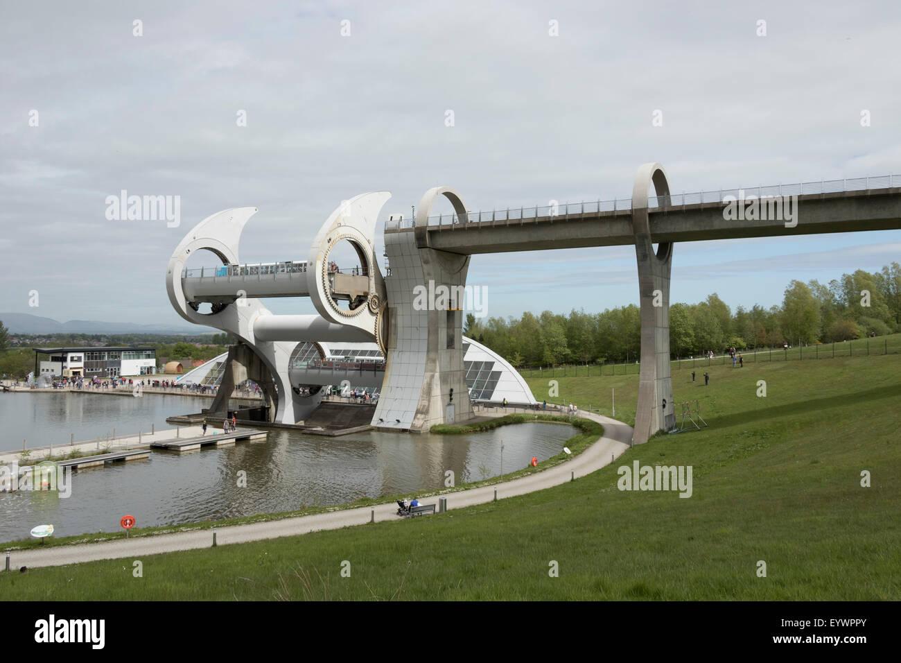 The Falkirk Wheel operating, Falkirk, Scotland, United Kingdom, Europe - Stock Image