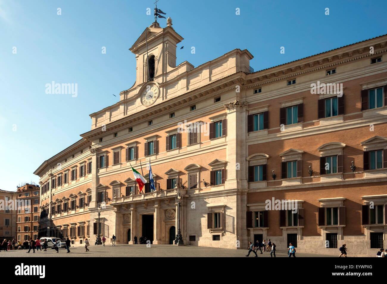 Palazzo Montecitorio, Parliament Building, Rome, Lazio, Italy, Europe - Stock Image