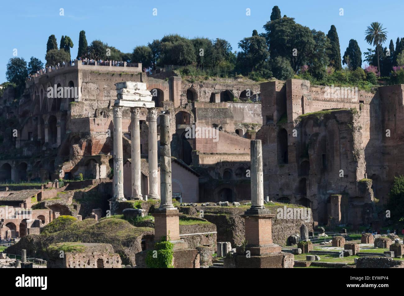 Ancient Roman Forum and the three columns of Temple of Castor and Pollux, UNESCO World Heritage Site, Rome, Lazio, Stock Photo