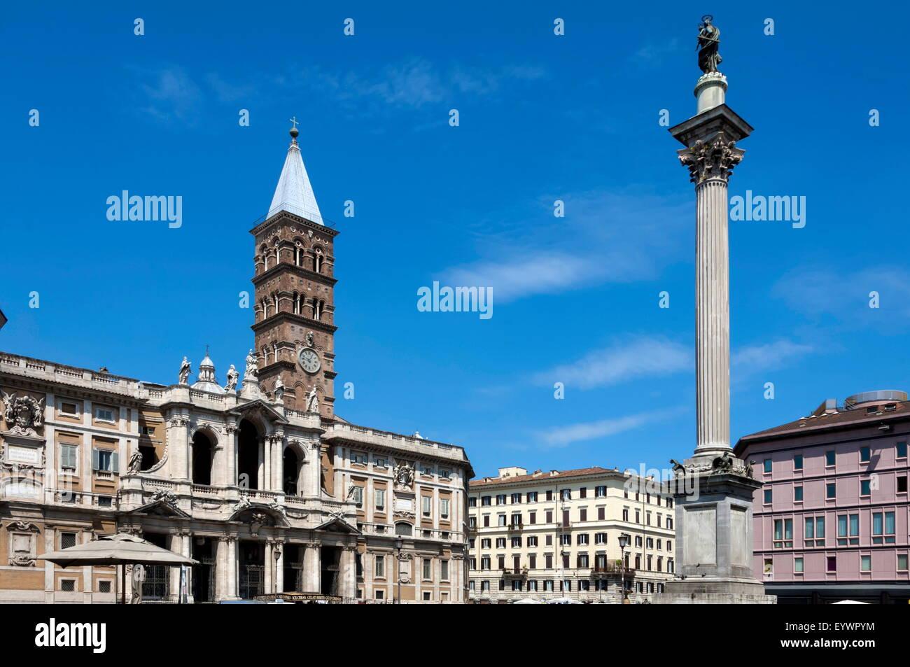 Marian Column and Basilica Santa Maria Maggiore, Rome, Lazio, Italy, Europe - Stock Image