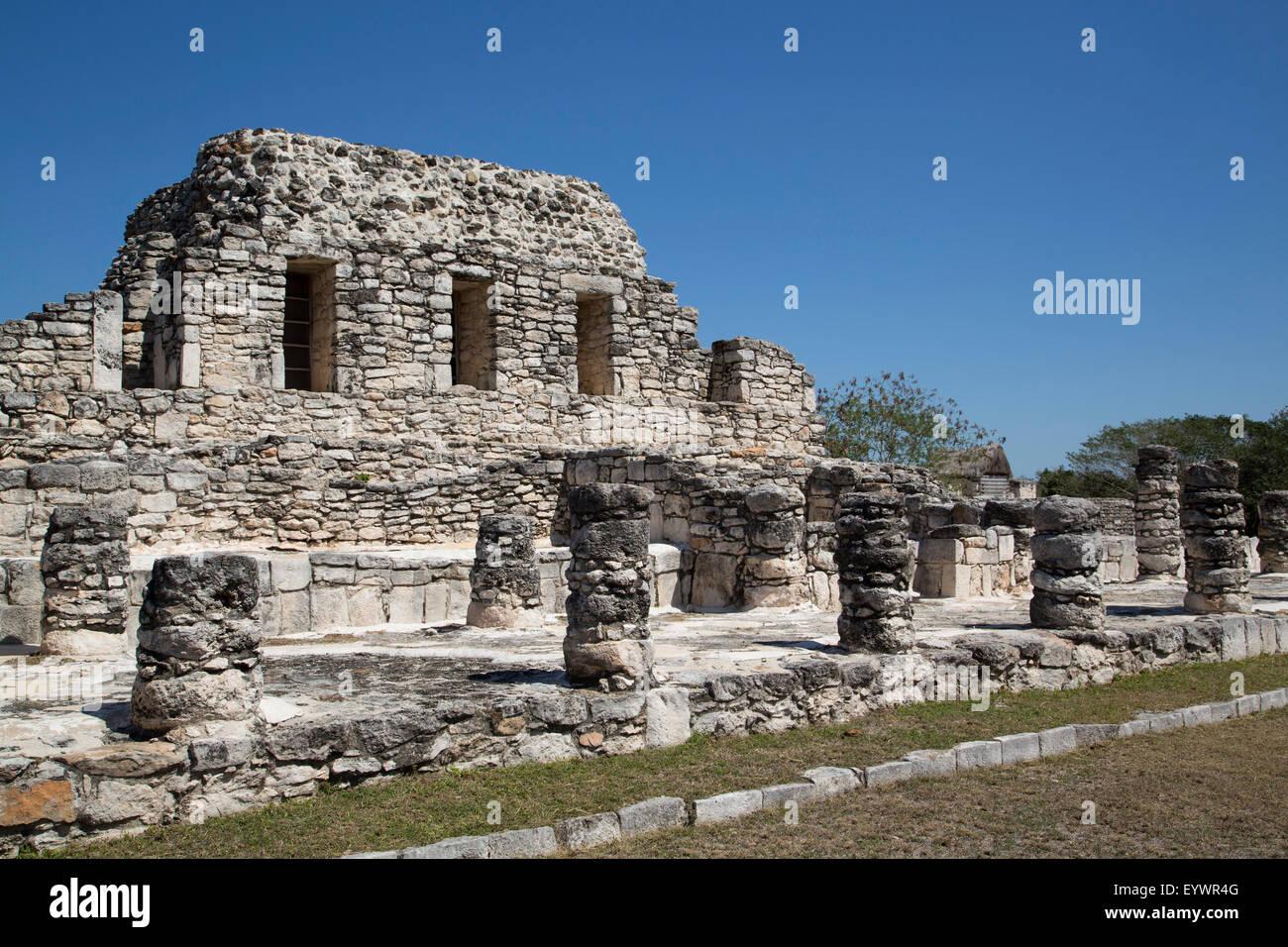 Templo de los Guerreros, Mayapan, Mayan archaeological site, Yucatan, Mexico, North America Stock Photo