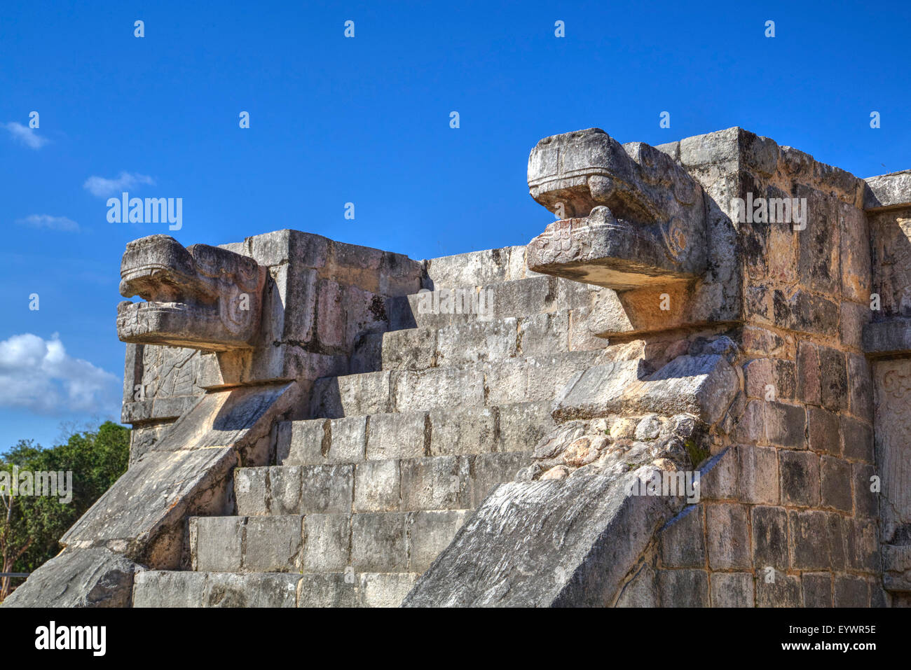 Platform of the Eagles and Jaguars, Chichen Itza, UNESCO World Heritage Site, Yucatan, Mexico, North America - Stock Image