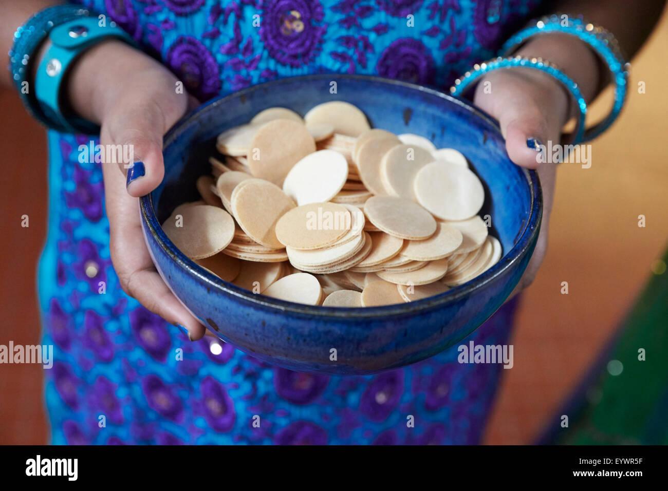 Host wafers, Tamil Catholic celebration in Antony, France, Europe - Stock Image