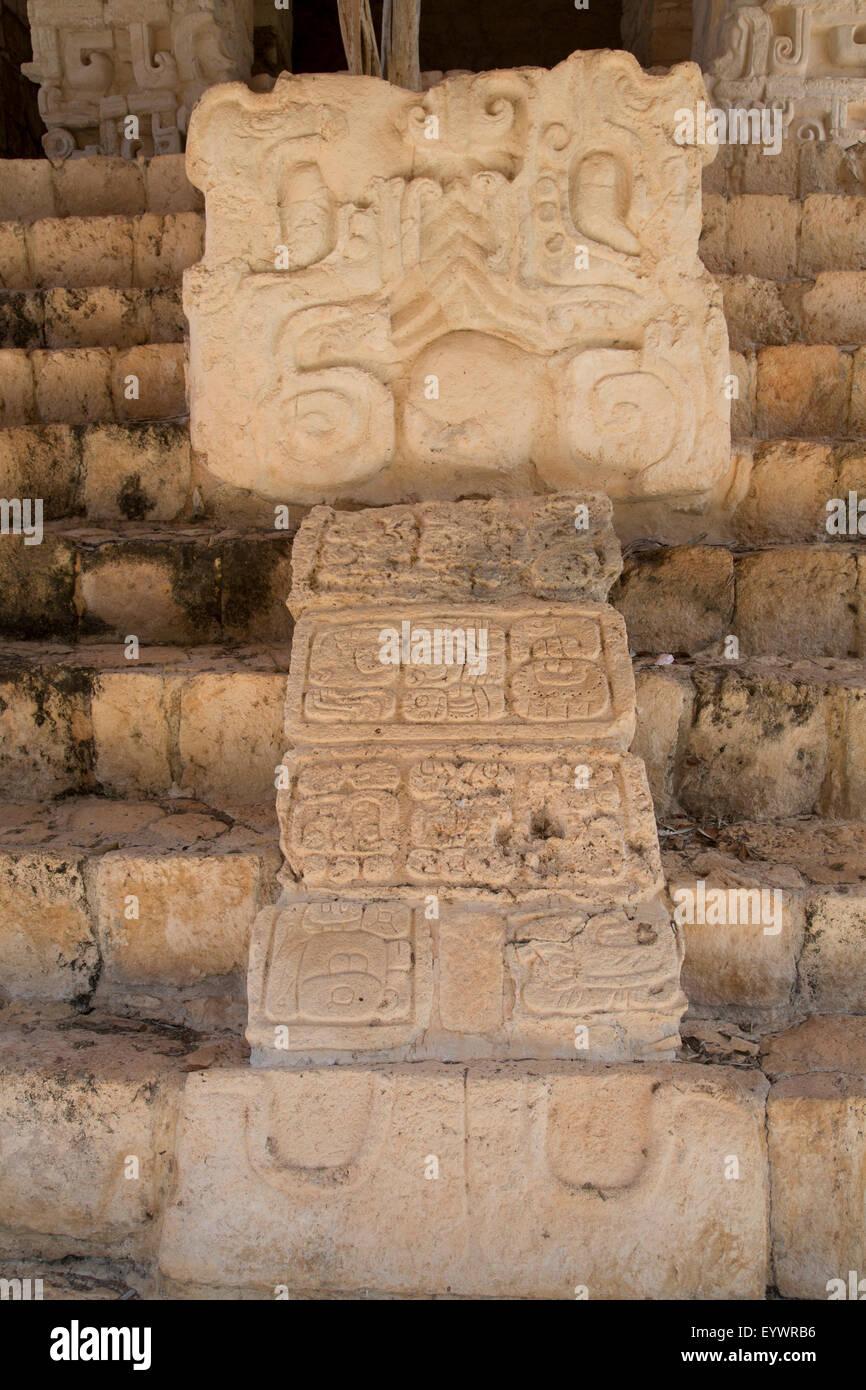 Stucco sculpture, Tomb of Ukit Kan Lek Tok, Mayan Ruler, The Acropolis, Ek Balam, Mayan archaeological site, Yucatan, - Stock Image