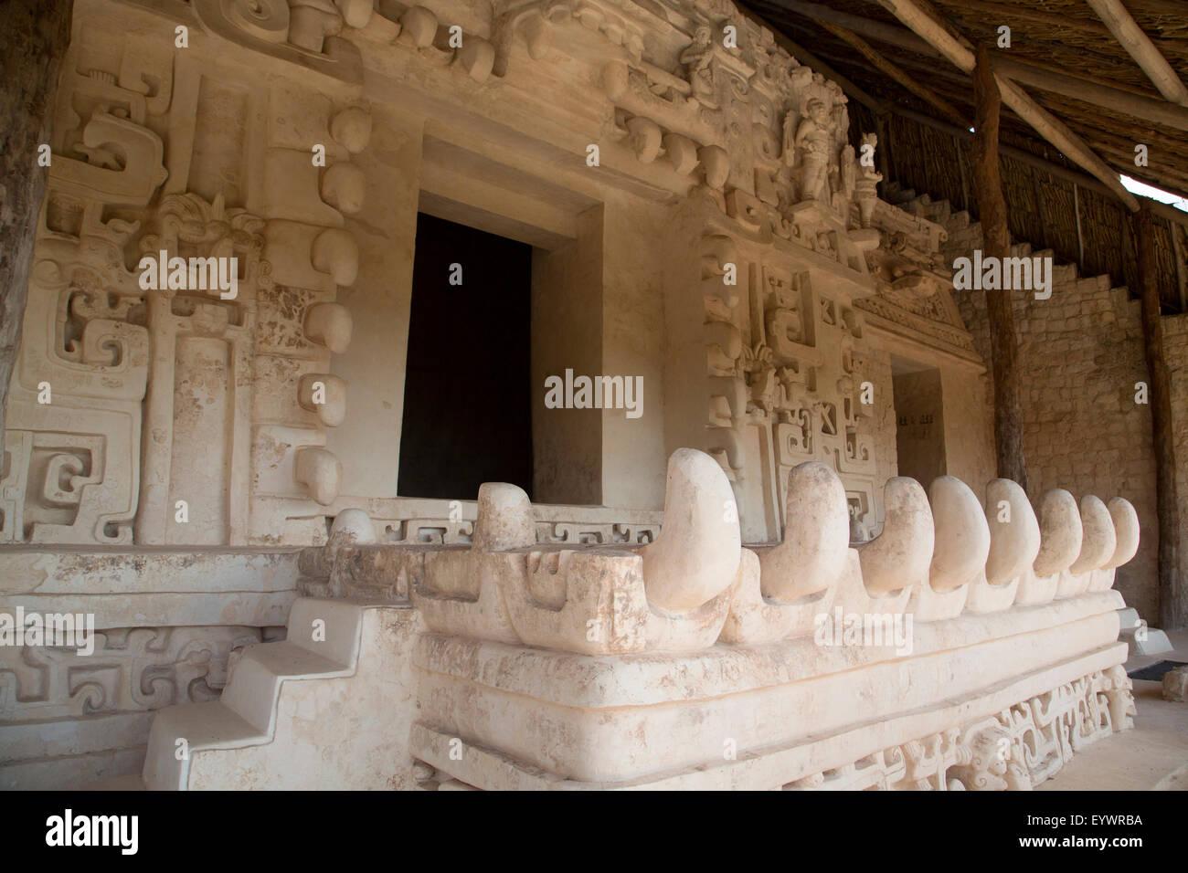 Stucco sculpture, Monster Mouth, The Tomb of Ukit Kan Lek Tok (Mayan Ruler), The Acropolis, Ek Balam, Yucatan, Mexico - Stock Image