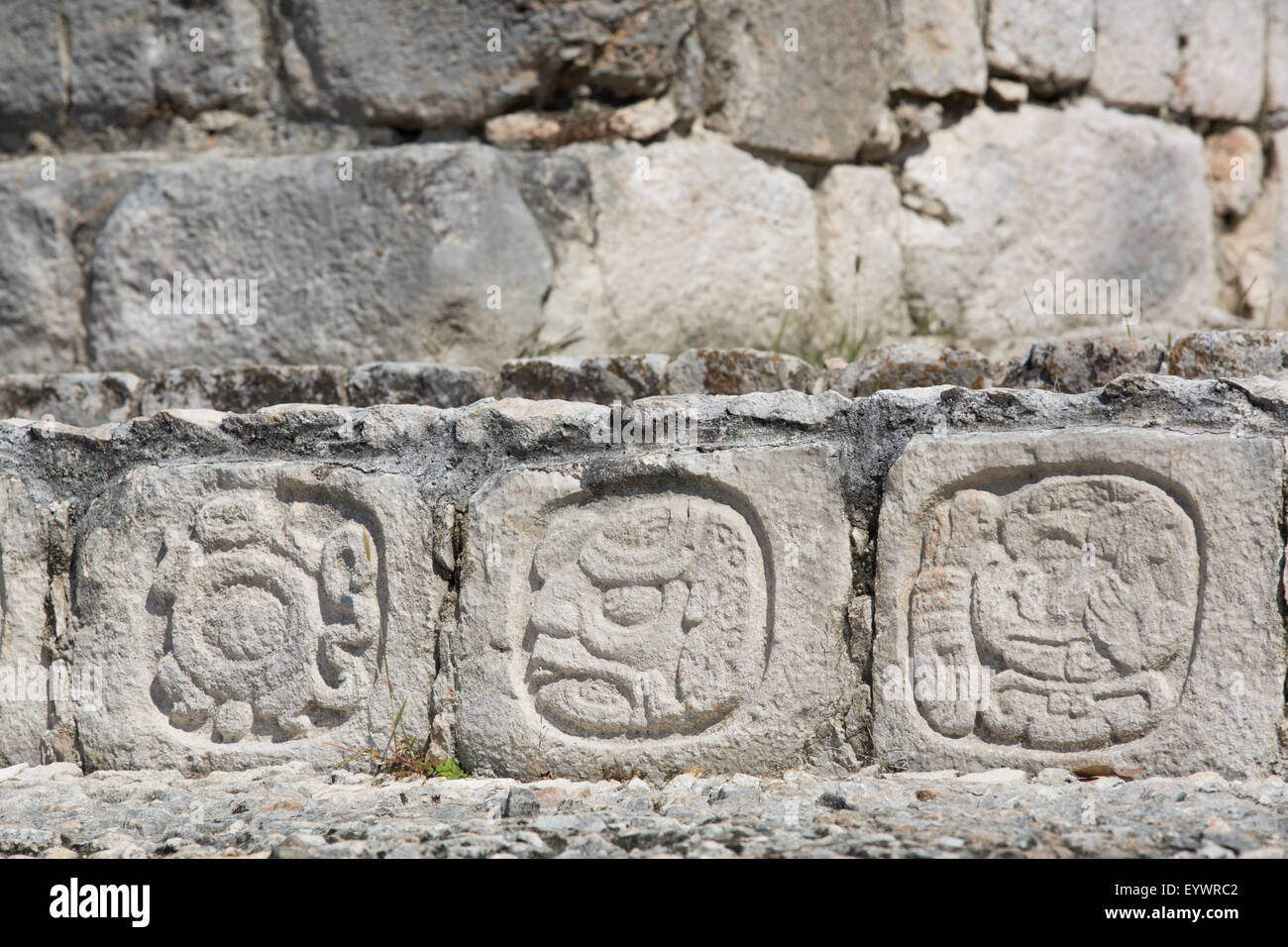 Stone carved Hieroglyphs, Structure of Five Floors (Pisos), Edzna, Mayan archaeological site, Campeche, Mexico, - Stock Image