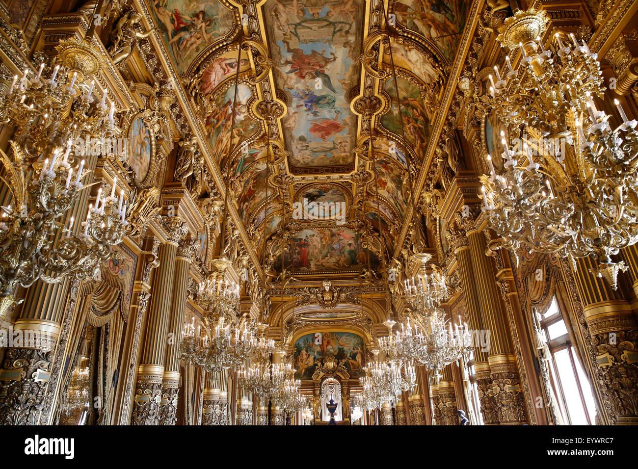Celling of the Grand Foyer, Paris Opera, Palais Garnier, Paris, France, Europe - Stock Image