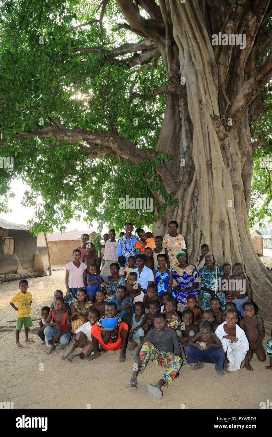 African family under the palaver tree, Datcha-Attikpay, Togo, West Africa, Africa - Stock Image