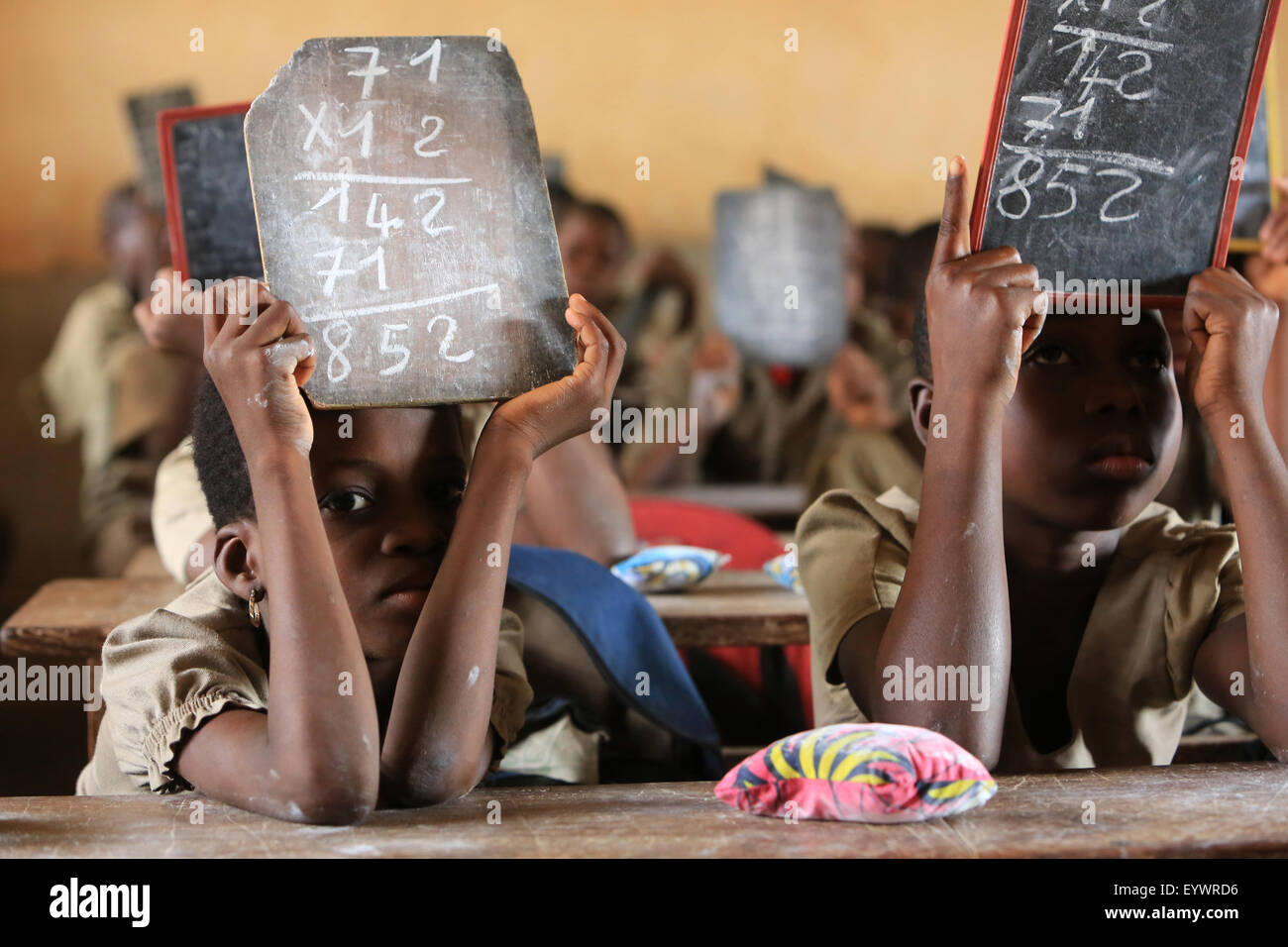 Mathematics, Primary School Adjalle, Togo, West Africa, Africa - Stock Image