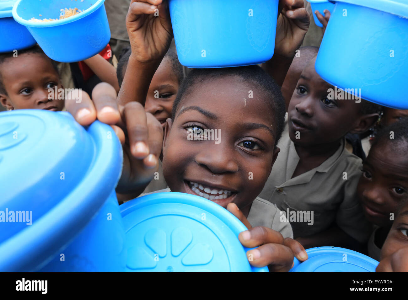 Meal distribution, Primary School Adjalle, Togo, West Africa, Africa - Stock Image