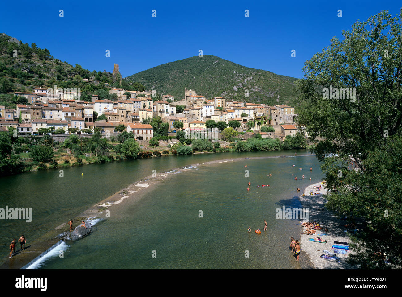 Village on the Orb River, Roquebrun, Herault department, Languedoc-Roussillon, France, Europe - Stock Image