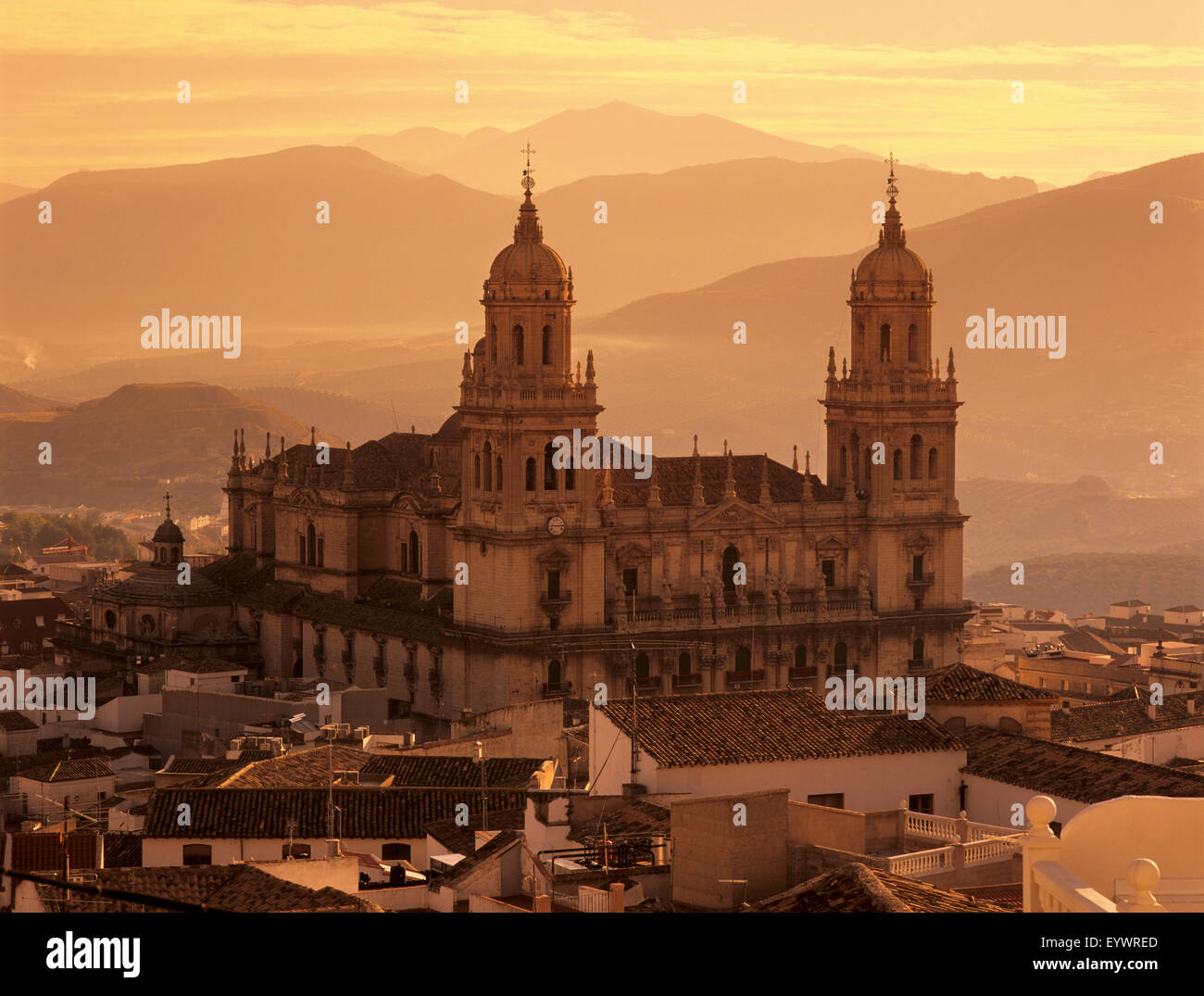 Jaen Cathedral at sunset, Jaen, Andalucia, Spain, Europe Stock Photo