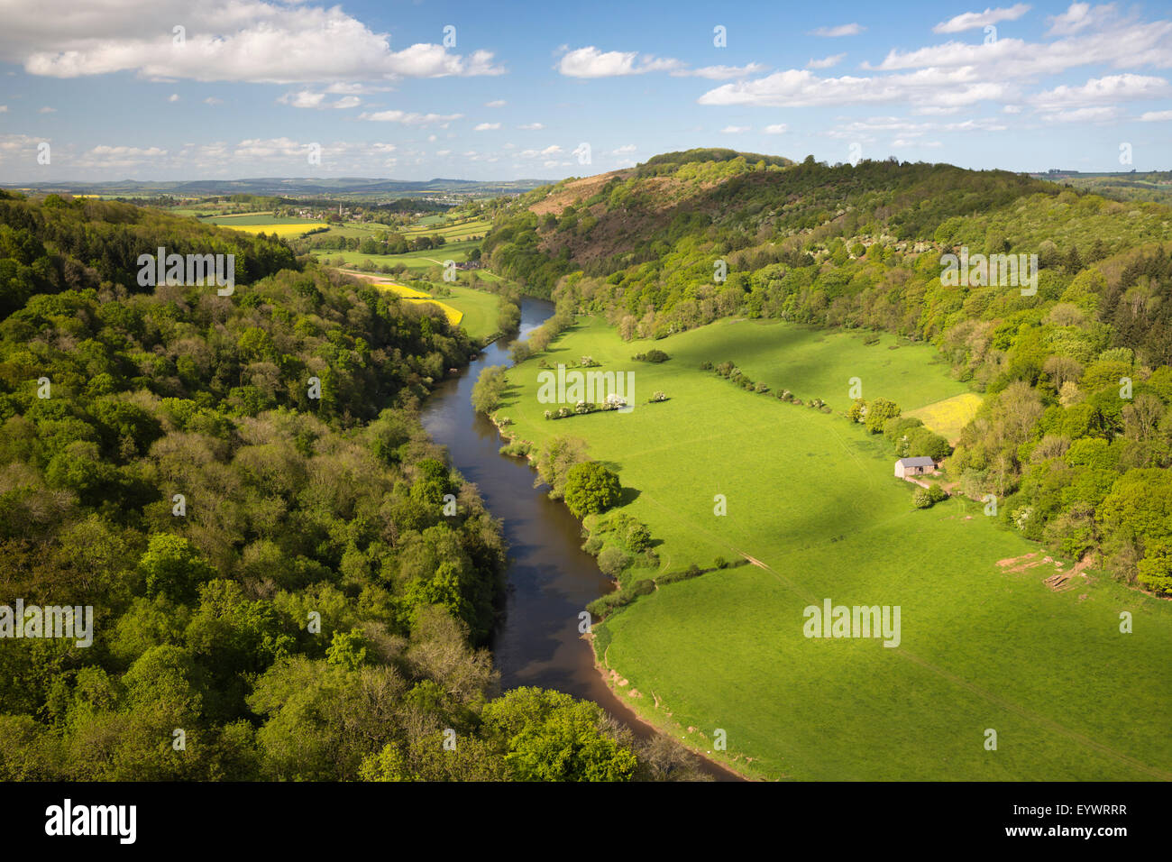 View over Wye Valley from Symonds Yat Rock, Symonds Yat, Forest of Dean, Herefordshire, England, United Kingdom, - Stock Image